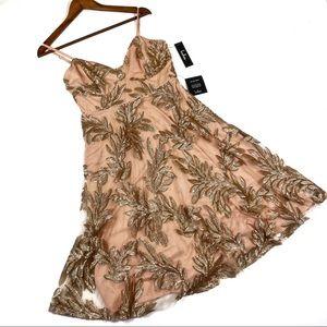 Lulus Trinity Nude and Gold Mini Dress Medium
